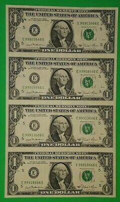 1981 $1 EE, fancy serial numbers sixes & nines on all fours
