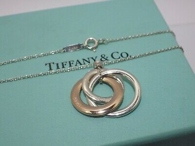 TIFFANY & Co. Sterling Silver & Rubedo 1837 Interlocking Circle Pendant Necklace