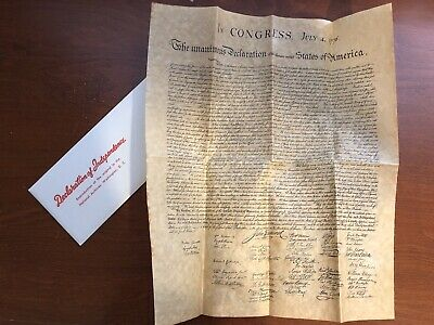 Declaration of Independence,Jefferson/'s 1st Draft Repro,Parchament  Rolled 2pgs