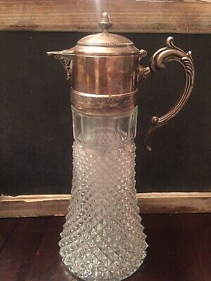 Crystal Carafe Italy Pitcher Decanter Vintage Silverplate Ice Chiller Insert