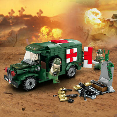 262pcs Military Ambulance Building Blocks with WW2 Soldier Figures Toys Bricks