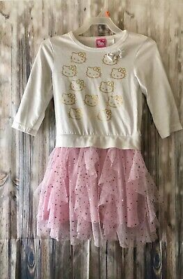 Hello Kitty Youth Girls White & Light Pink LS Dress Size S (6) Cotton Polyester