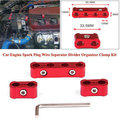 3Pcs Red 8-10mm Car Engine Spark Plug Wire Separator Divider Organizer Clamp Kit