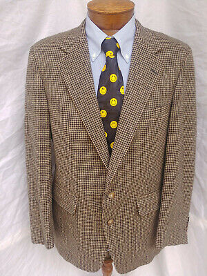 42 R Mens Christian Brooks Camel Hair Blazer Coat Jacket 2 Btn Houndstooth