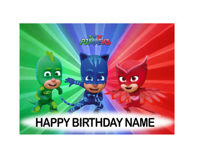 PJ Masks Personalised Edible Cake Topper Party Cake Decoration A4 Size Image