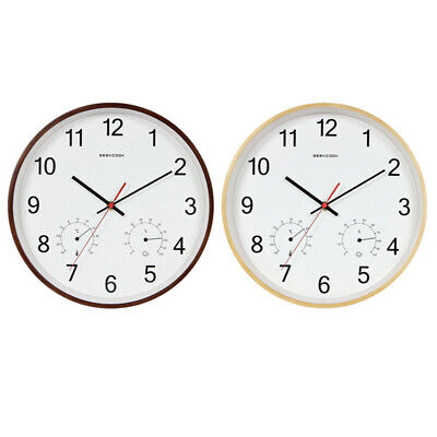 Geekcook 12 Inch Classic Wooden Wall Clocks Silent Quartz Thermometer Hygro M7C9