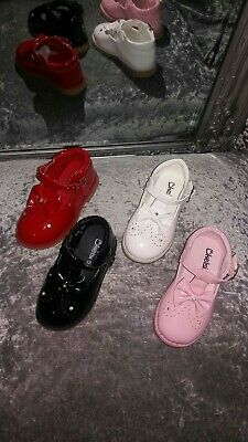 Brand New Kelsi Girls Diamonte Bow Shoes - Pink, White, Red, Black, Beige
