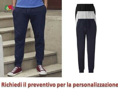 Pantalone Tuta leggero Uomo Sportivo Fitness Fruit Of The Loom Con Polsini