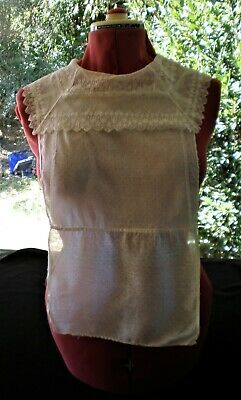 Antique Victorian white lace, net & spotted muslin chemisette collar