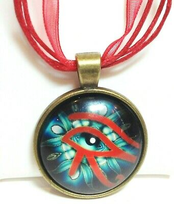 EYE OF HORUS_Bronze Glass Dome Pendant + Red Ribbon Necklace_Egyptian RA Symbol