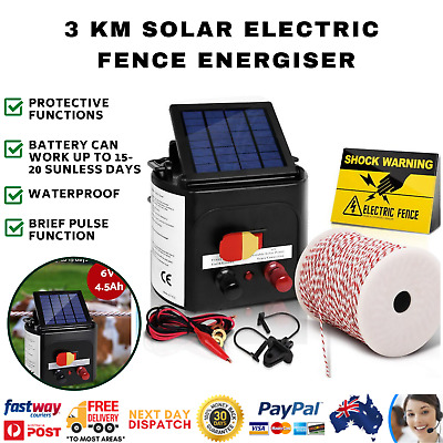 3km Solar Electric Fence Energiser Charger with 500M Tape and 25pcs Insulators