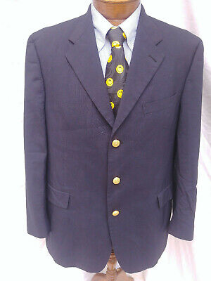 44 R Mens Tommy Hilfiger Blazer Coat Jacket 3 Gold Btn Bluish Black Single Vent