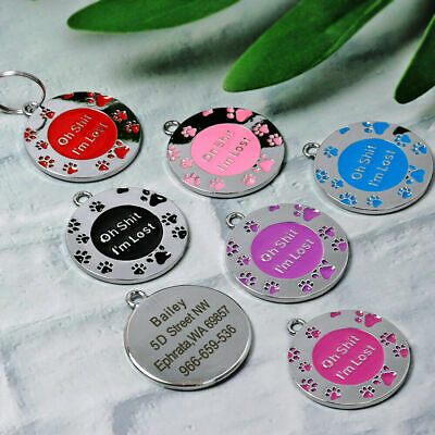 Personalised ENGRAVING Dog ID / Cat ID Name Bling Tag Puppy Pet ID Tags UK