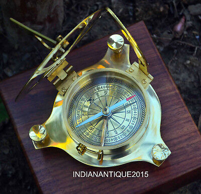 New Vintage Maritime West London Brass Compass with Wooden Box