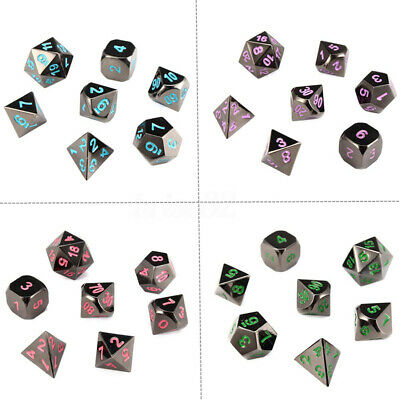 7Pcs Set Alloy Metal Polyhedral Dice w/ Bag DND RPG MTG Role Playing Board  CA