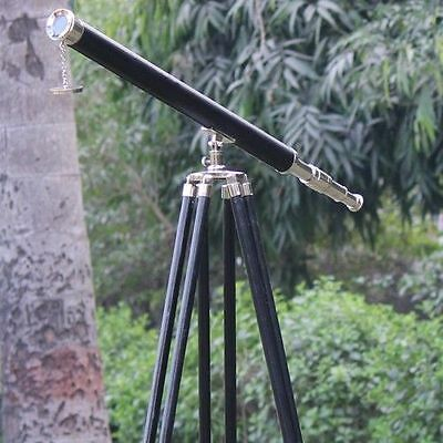 Nautical Marine Telescope With Leather Vintage Wooden Tripod Stand Home Decor
