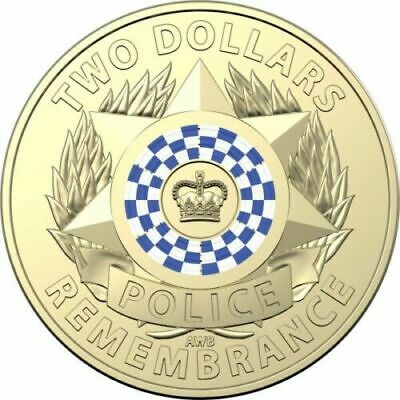 2019 Police Remembrance $2 Dollar Coloured Coin - From Mint Bag