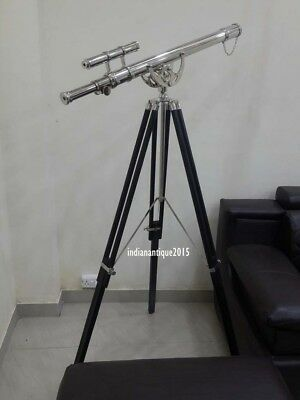 Collectible Navy Nautical Telescope With Wooden Tripod Office & home Decor