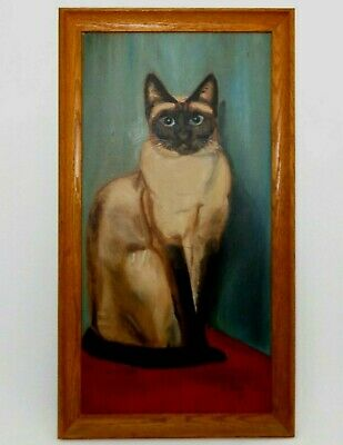 Peter Sirois (Us/20Th C) Signed 1967 Vint O/B Siamese Cat, Orig Period Oak Frame