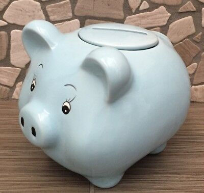 Blue Ceramic Childs Pig Piggy Bank Re move-able Top Lid Great Quality Ceramic