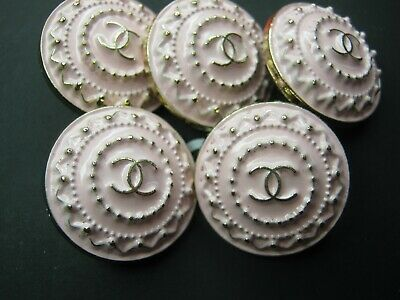 CHANEL  5 AUTHENTIC LIGHT  PINK  MATTE GOLD cc 18 MM BUTTONS THIS IS FOR FIVE