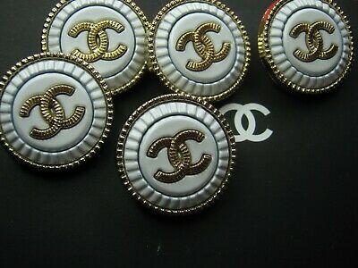 CHANEL  5 AUTHENTIC WHITE MATTE GOLD cc 20MM BUTTONS THIS IS FOR FIVE