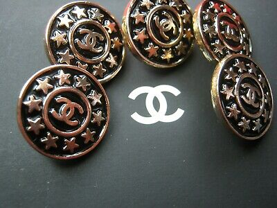 CHANEL  5 AUTHENTIC BLACK MATTE GOLD cc 16MM BUTTONS THIS IS FOR FIVE