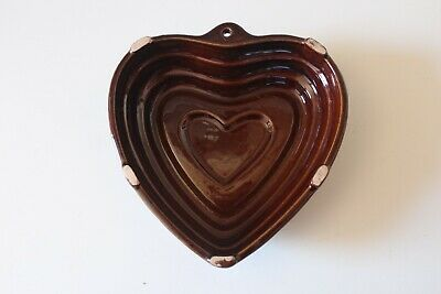 Ancien Moule Terre Cuite Vernissee - Vintage Heart Mold Glazed Pottery