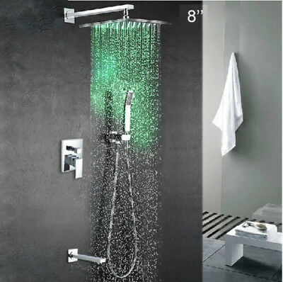 "LED 8"" Rain Shower Faucet Set Wall Mount Tub Mixer Tap Hand Spray Complete Kit"