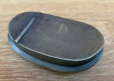 Victorian Brass Snuff Box Of Curved Form With Hinged Lid