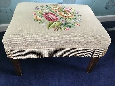 Antique Embroidered Footstool