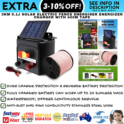 3km 0.1J Solar Electric Fence Energiser Energizer Charger with 400M Tape