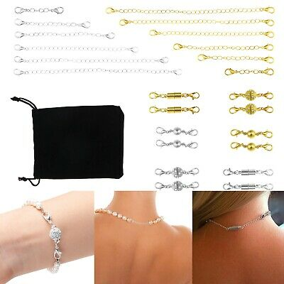 9ct Gold Necklace Necklet Extender Bracelet Safety Chain with 2 Jump Rings FS25