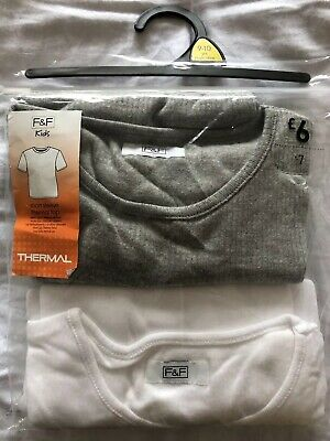 F&F Kids Short Sleeve Thermal Top White & Grey 2 Piece Set