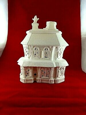 """Ceramic Bisque Hand-Painted Halloween Haunted House, 13"""" Tall"""