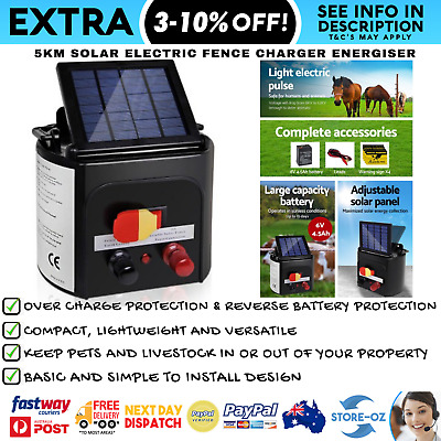 5km Solar Electric Fence Charger Energiser Giantz