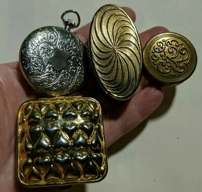 Vintage Compacts Pill Boxes Max Factor Lipstick Case Avon Hearts Pocket Watches