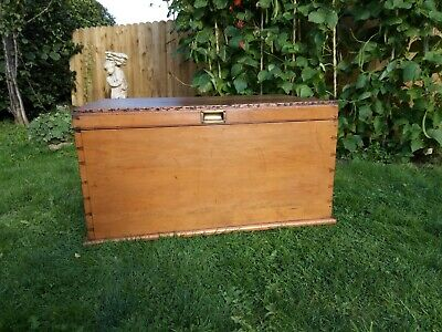 Antique Pine Blanket box Wooden Chest Trunk Ottoman Coffee Table