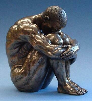 Bronze Effect Nude Male Sculpture Statue Ornament Decoration Naked Man