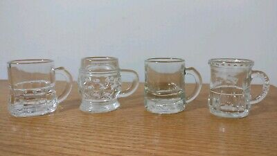 Lot Of Four Vintage cut glass embossed Beer Stein Style Shot Glasses w/ handles