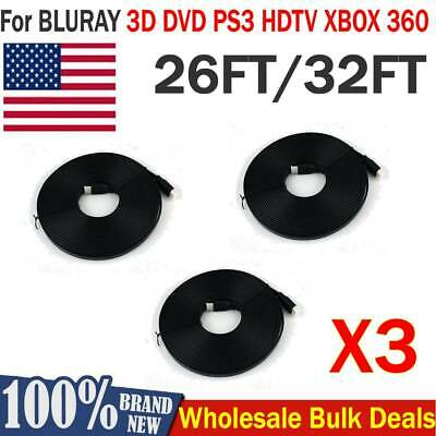 3Pack 26/32ft V1.4 HDMI Cable M/M Male to Male For BLURAY DVD PS3 HDTV XBOX 360
