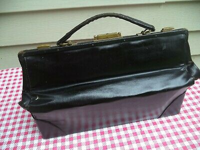 Nice Old Antique Small Black Leather Doctor Medicine Bag, (VERY OLD)