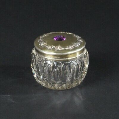 Antique vanity jar powder glass sterling silver lid purple stone Wendell Mfg Co
