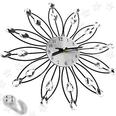 Silver 33cm Crystal Diamante Jewelled Handcrafted Daisy Wall Clock New