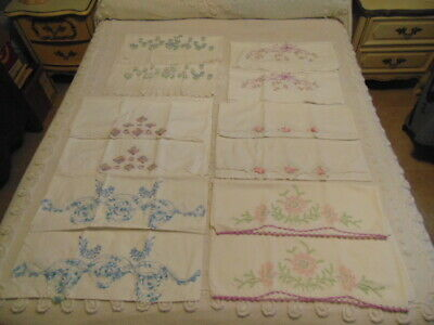6 Pair Vintage Embroidered Crochet Pillowcases