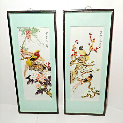 Asian Carved Shell Art Pair of 3D Mother of Pearl Shadow Box Birds Flowers