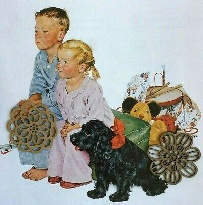 Norman Rockwell Art Print CHRISTMAS HOLIDAY Illustration of Children & Family