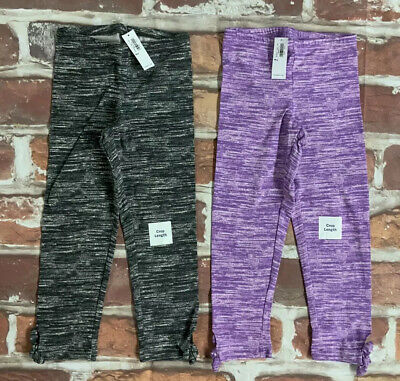 2 PACK GIRLS Cropped Side-Tie Leggings OLD NAVY LILAC / GRAY SZ M 8 LOT NWT