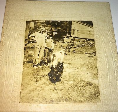 Antique Mini Outdoor Farm Kids, Big Rooster & Pet Dog Mounted Cabinet Photo! US!