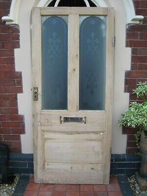 Victorian Edwardian Period Old Reclaimed Etched Glass Antique Pine Frontdoor